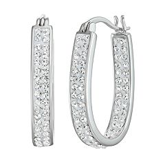 Chrystina Fine Silver Plated Crystal Inside Out Oval Hoop Earrings