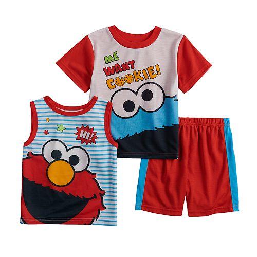 Toddler Boy Sesame Street Elmo & Cookie Monster Tops & Shorts Pajama Set
