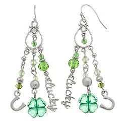 Green Faceted Bead Earrings