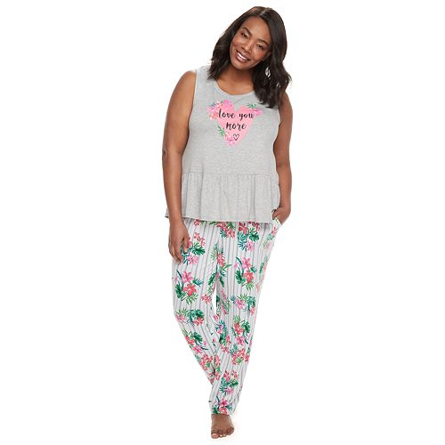 """Plus Size Jammies For Your Families Mommy & Me """"Love You More"""" Top & Floral Bottoms Pajama Set by Cuddl Duds"""
