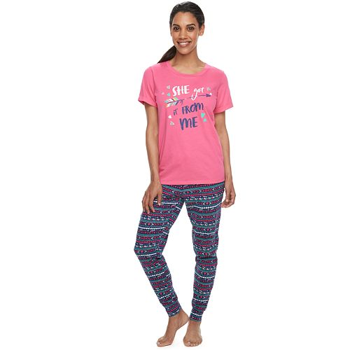 """Women's Jammies For Your Families Mommy & Me """"She Got it From Me"""" Top & Bottoms Pajama Set by Cuddl Duds"""