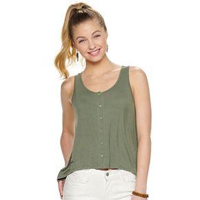 Juniors' Mudd® Dip-Dyed Button Front Jersey Tank Top