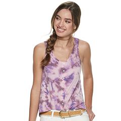 Juniors' Mudd® Dip-Dyed Button Front Jersey Tank Top