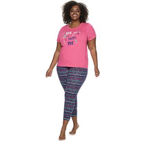 "Plus Size Jammies For Your Families Mommy & Me ""She Got it From Me"" Top & Bottoms Pajama Set by Cuddl Duds"