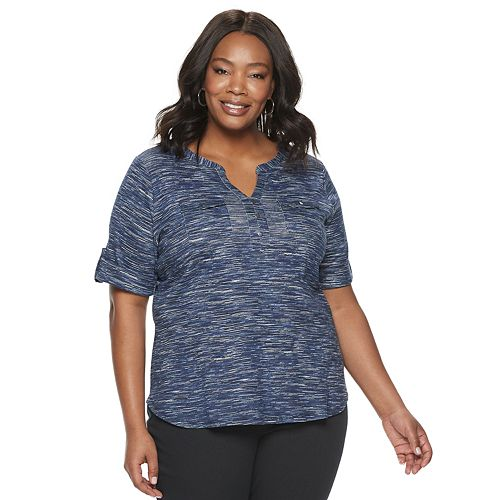 Plus Size Croft & Barrow Elbow Sleeve Two Pocket Pullover