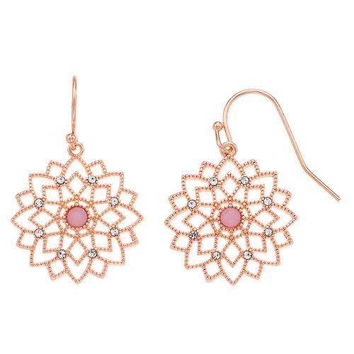 LC Lauren Conrad Filigree Flower Drop Earrings
