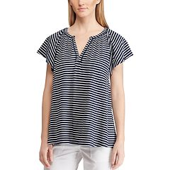 Women's Chaps Striped Splitneck Top