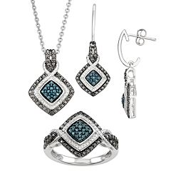 1/10 Carat T.W. White, Black & Blue Diamond Pendant Earring & Ring Set