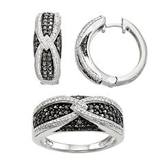 Sterling Silver 1/10 Carat T.W. Black & White Diamond Ring & Hoop Earring Set