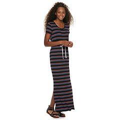 Juniors' SO® Tie Waist Striped Maxi Dress
