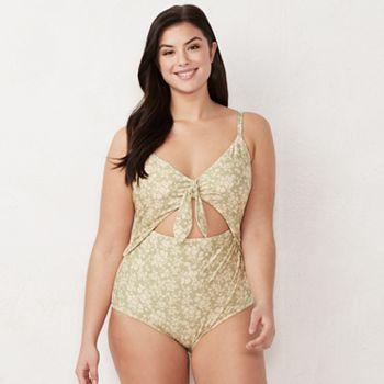c123c1187b0 Plus Size LC Lauren Conrad Tie-Front One-Piece Swimsuit