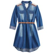 Girls 7-16 My Michelle Chambray Belted Crochet Yoke Shirtdress