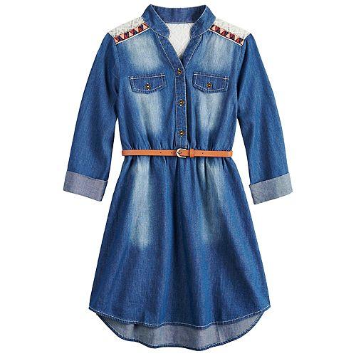 Girls 7-16 My Michelle Chambray Belted Crochet Yoke Shirtdress