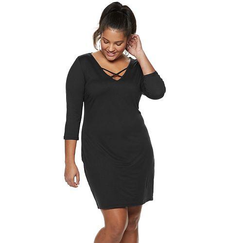 Juniors' Plus Size AS U WISH Knit Bodycon Dress