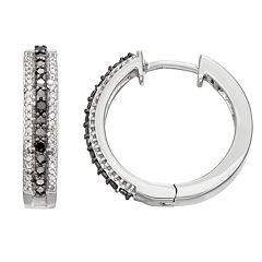 10k White Gold 1/4 Carat T.W. Diamond Black & White Diamond Hoop Earrings