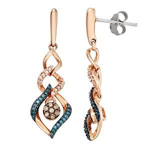 10k Rose Gold 1/4 Carat T.W. White, Blue & Champagne Diamond Drop Earrings