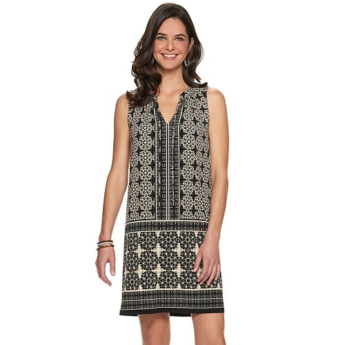 Petite Suite 7 Tile Print Shift Dress