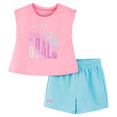 Toddler Girl Under Armour 'Girl With Goals' Graphic Tee & Shorts Set