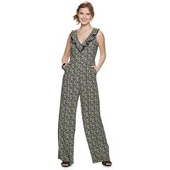 Juniors' Love, Fire Ruffle Front V-Neck Jumpsuit