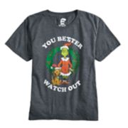 """Boys 8-20 Grinch """"Watch Out"""" Tee"""