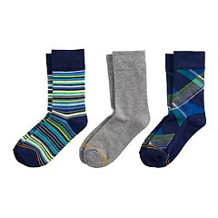 Boys 4-20 Goldtoe Argyle 3-Pack Crew Socks