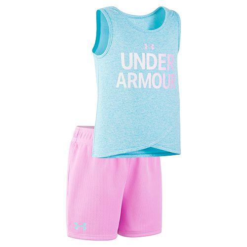 Toddler Girl Under Armour Logo Graphic Tank Top & Mesh Shorts Set