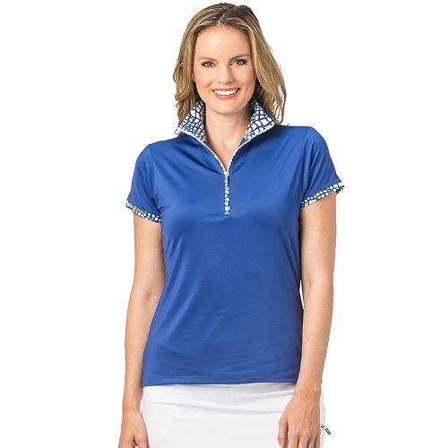 Women's Nancy Lopez Wild Print-Trim Golf Polo