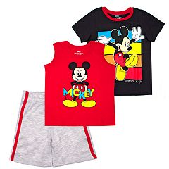 Disney's Mickey Mouse Toddler Boy 3 Pc Graphic Tee, Muscle Tee & Shorts Set