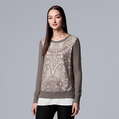 Women's Simply Vera Vera Wang Lace Mock-Layer Sweater