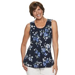 e954fd06be3 Women s Croft   Barrow® Pleated Tank. Gray Border Blue Medallion Black Pink  ...