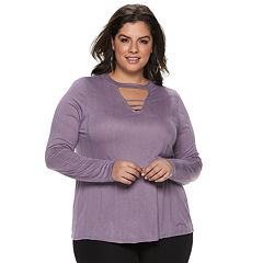 Plus Size Jennifer Lopez Cutout Bar Front Tee