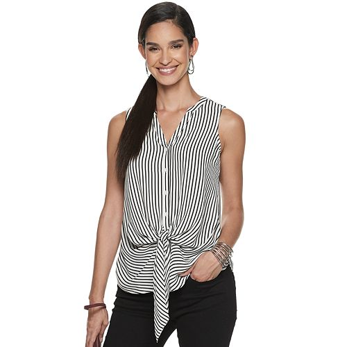 Women's Apt. 9® Tie-Front Sleeveless Blouse