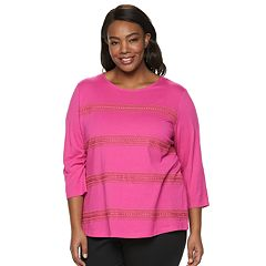 Plus Size Croft & Barrow® Striped Lace Tee