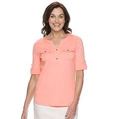 Women's Croft & Barrow® Roll-Tab Utility Henley
