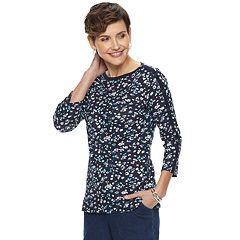 Women's Croft & Barrow® Button-Sleeve Boatneck Tee