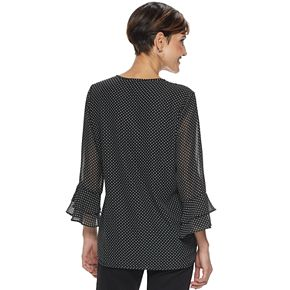 Women's Croft & Barrow® Tiered-Sleeve Chiffon Top