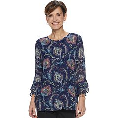Women's Croft & Barrow® Tiered-Sleeve Chiffon Top