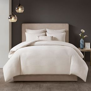 N Natori Cotton Blend 3-piece Duvet Cover