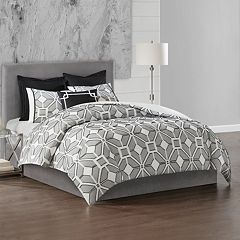 N Natori Geometric 3-piece Duvet Cover Set