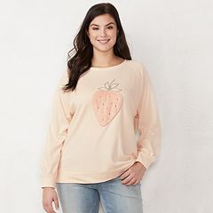 Plus Size LC Lauren Conrad Strawberry Graphic Sweatshirt