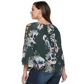 Plus Size Jennifer Lopez Cage Sleeve Peasant Top