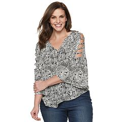 Plus Size Jennifer Lopez Cage Sleeve Peasant Top