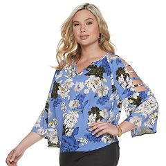 383901ed2af9a4 Plus Size Jennifer Lopez Cage Sleeve Peasant Top
