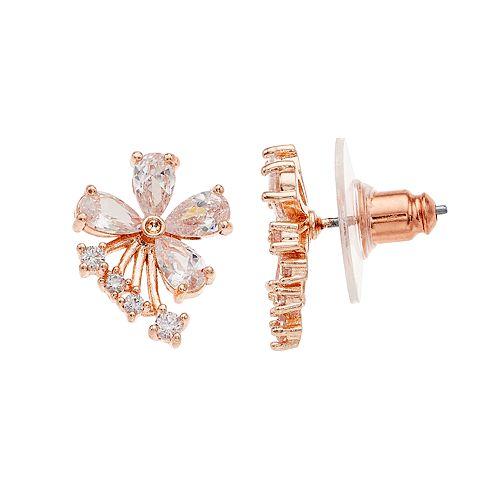 Napier Cubic Zirconia Flower Stud Earrings