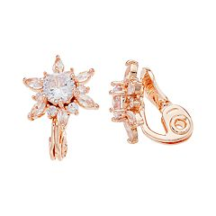 Napier Cubic Zirconia Flower Clip On Earrings