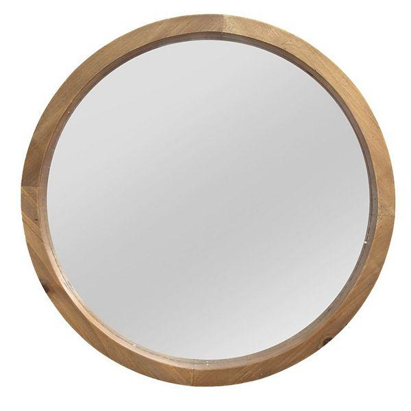 Stratton Home Decor Maddie Round Wood Wall Mirror