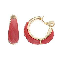 Napier Faux Ruby C-Hoop Earrings