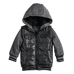 Toddler Boy Urban Republic Mixed Media Hooded Midweight Jacket