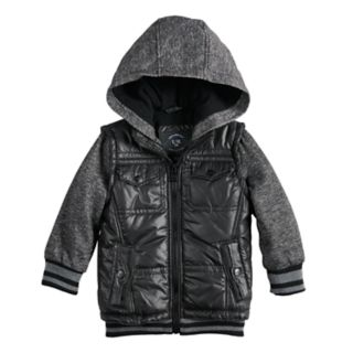 Toddler Boy Urban Republic Mixed Media Hooded Midweight Jacket