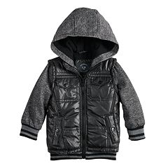Baby Boy Urban Republic Mixed Media Hooded Midweight Jacket